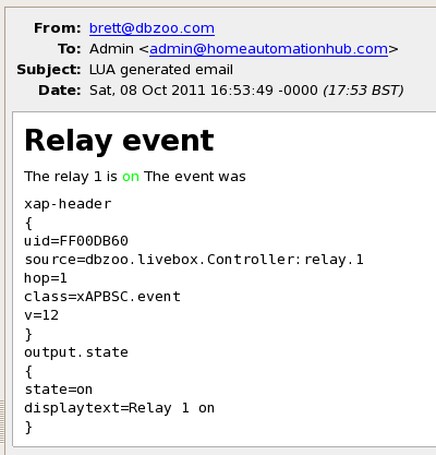 Relay event on email message
